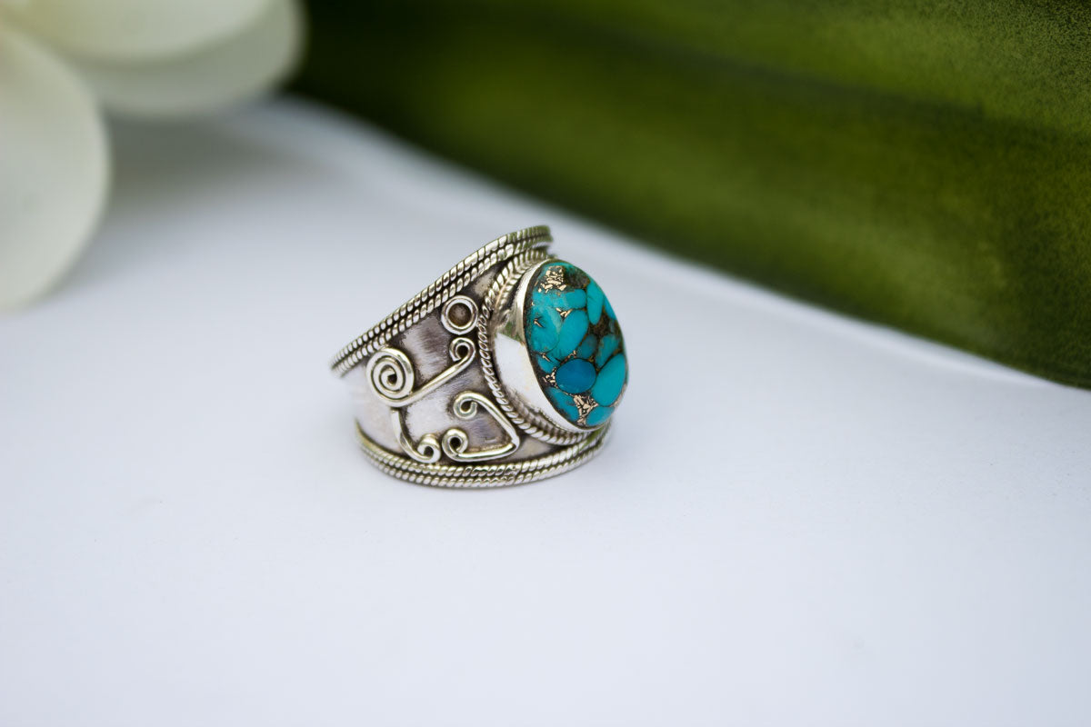 Turquoise Ring, Blue Copper Turquoise Sterling Silver Ring, Wide Band Ring, Handmade Ring, Boho Ring AR-1140