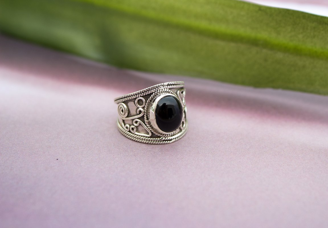 Black Onyx Ring 925 Sterling Silver, Black Onyx Gemstone Ring, Handmade Ring, Boho Ring, Black Stone Ring, AR-1014