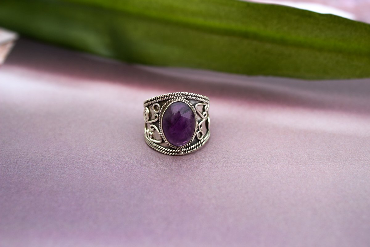 Amethyst Ring, Amethyst Gemstone Sterling Silver Ring, Wide Band Ring, Boho Ring, Cow Girl Style, February Gemstone Ring AR-1005