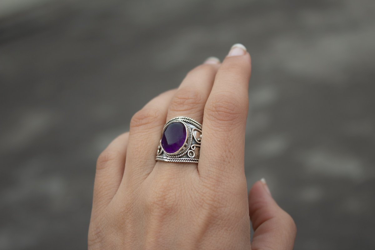 Amethyst Gemstone Sterling Silver Wide Band Ring, February Gemstone Ring AR-1005 - Its Ambra