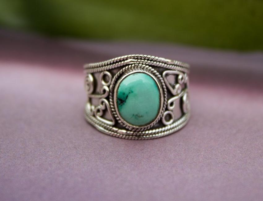 Natural Turquoise Ring, Turquoise Sterling Silver Ring, Wide Band Ring, Boho, Handmade Ring, Turquoise Jewelry AR-1085