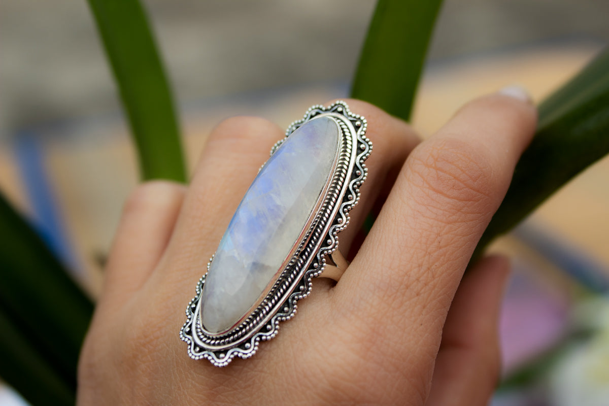 Long Moonstone Gemstone 925 Sterling Silver Ring, Statement Jewelry AR-1071