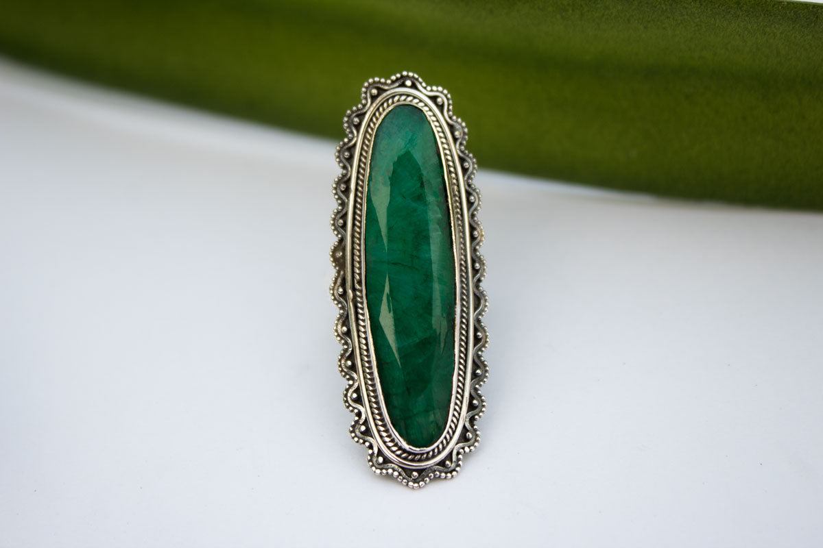 Long Oval Emerald Gemstone Sterling Silver Ring, Southwestern style, AR-1133