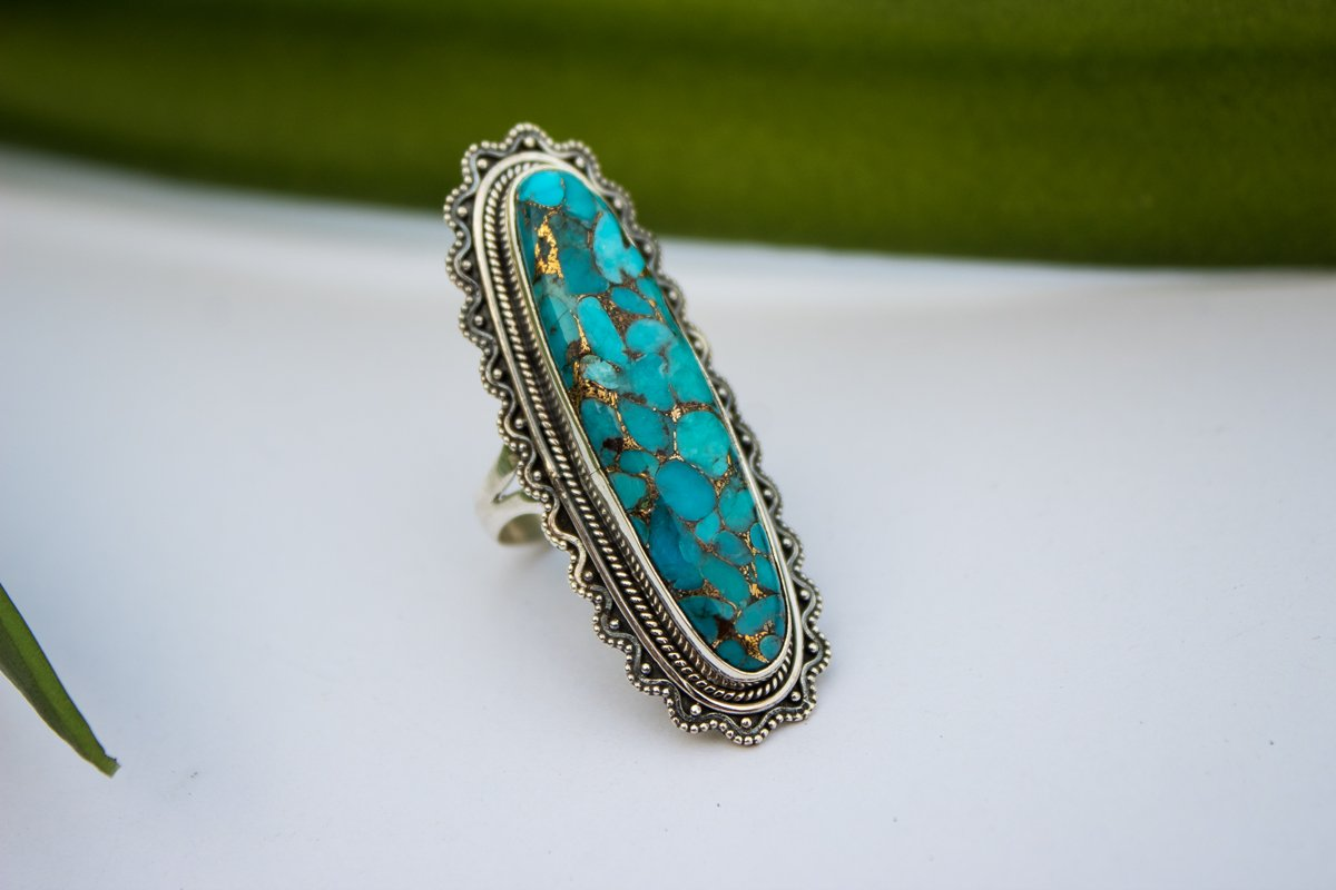 Artisan Long Oval Blue Copper Turquoise Sterling Silver Ring,  AR-1080