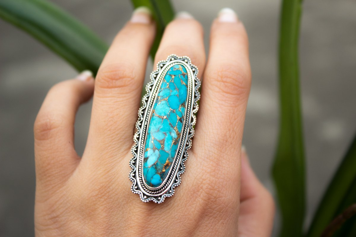 Artisan Long Oval Blue Copper Turquoise Sterling Silver Ring,  AR-1080 - Its Ambra