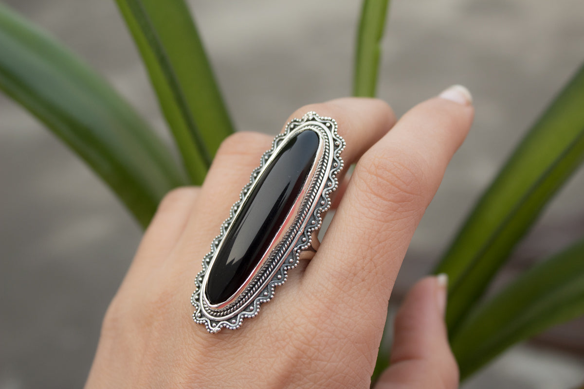Long Oval Black Onyx Ring 925 Sterling Silver, Statement Ring, AR-1015