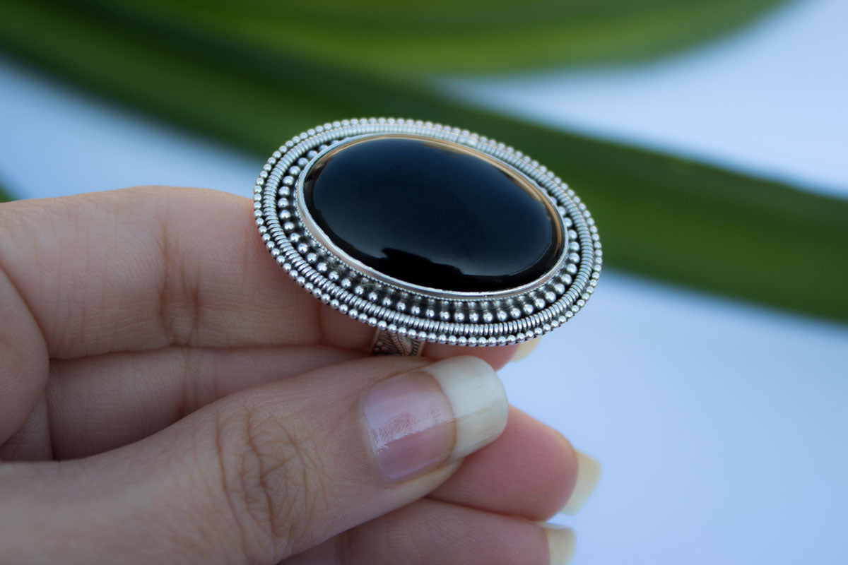 Oval Black Onyx Gemstone Cocktail Ring, AR-1046