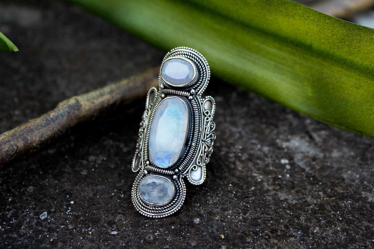 Three Stone Moonstone Gemstone 925 Sterling Silver Ring, Statement Ring, AR-1070
