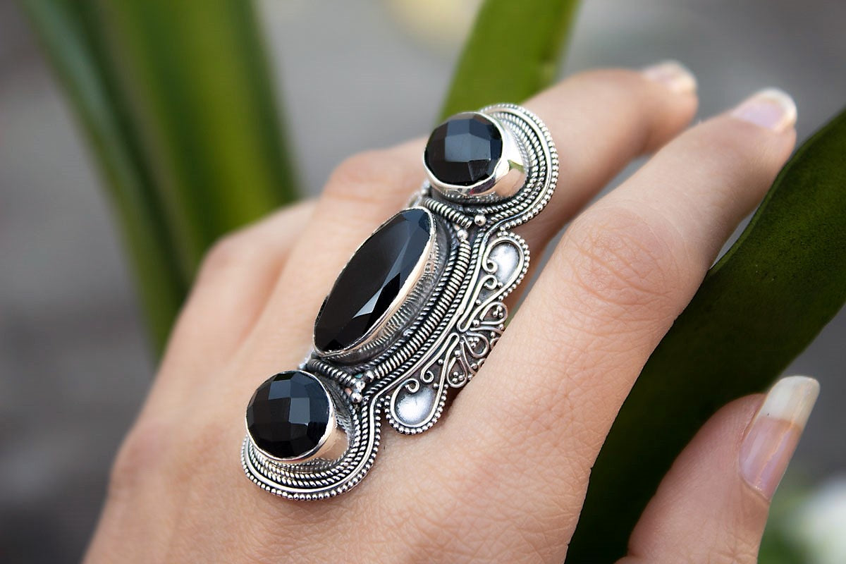Black Onyx Ring 925 Sterling Silver, Long Black Onyx Gemstone Ring, Statement Ring, Handmade Ring, Boho Ring, Black Stone Ring, AR-1016