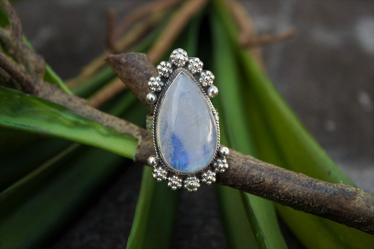 Pear Shape Moonstone Gemstone 925 Sterling Silver Statement Ring, Fertility Ring AR-1098