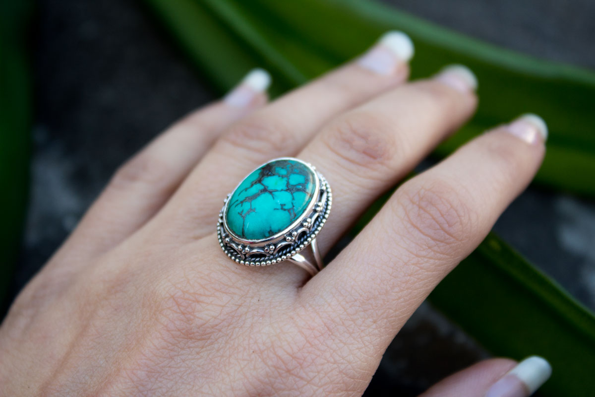Natural Turquoise Sterling Silver Ring, December Birthstone Ring,AR-1149