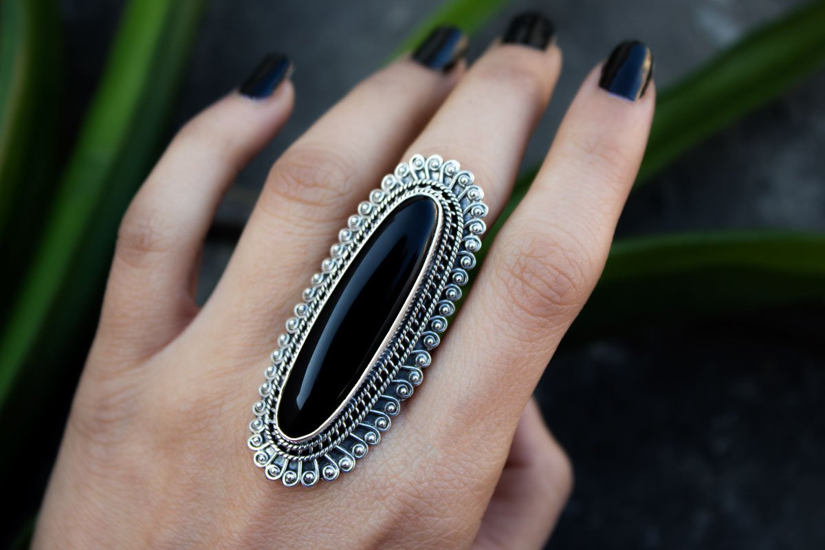 Artisan Long Black Onyx Gemstone Ring, Boho Ring, AR-1017
