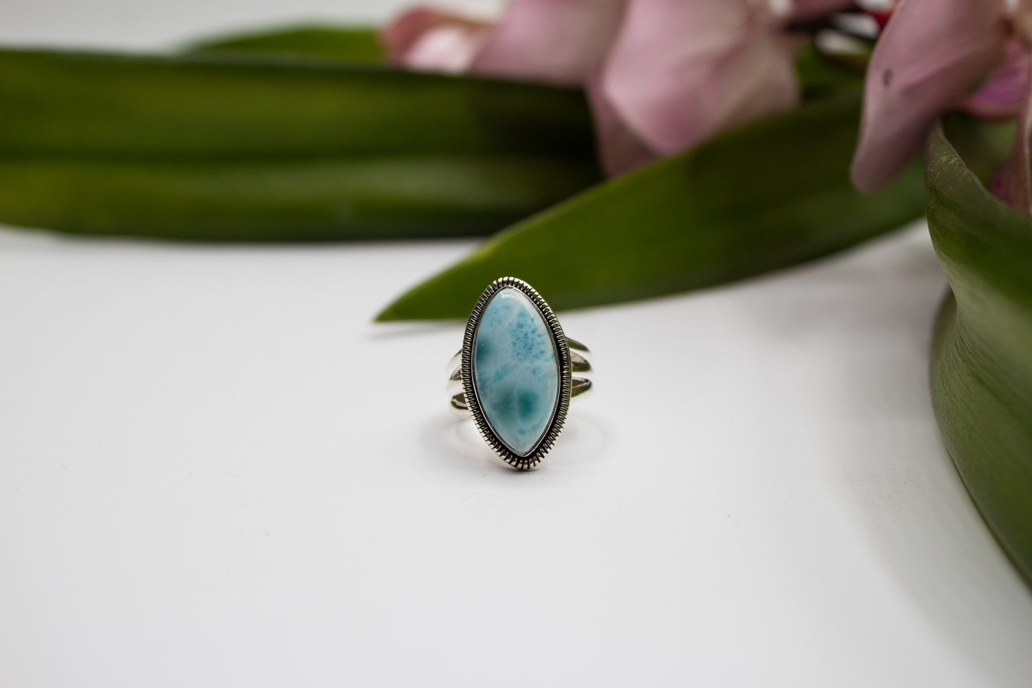 Marquise Shape Larimar Ring with Split Band AR-1182 - Its Ambra