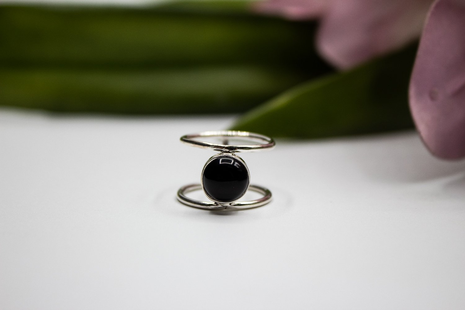 Dual Thin Band Black Onyx Ring 925 Sterling Silver AR-1161