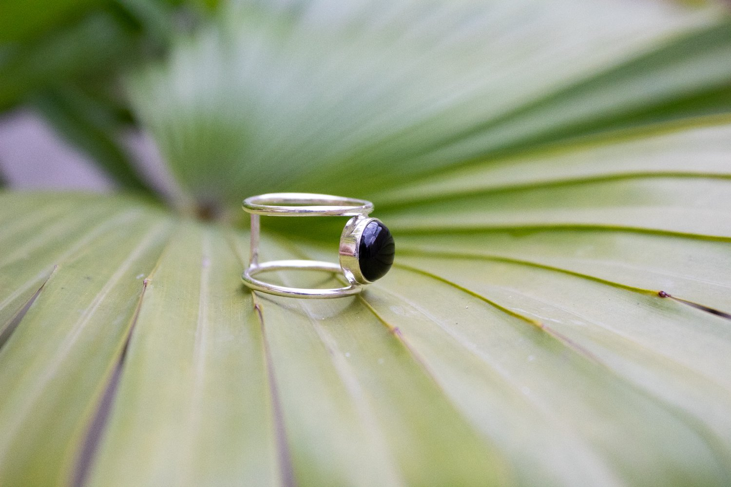 Dual Thin Band Black Onyx Ring 925 Sterling Silver AR-1161 - Its Ambra