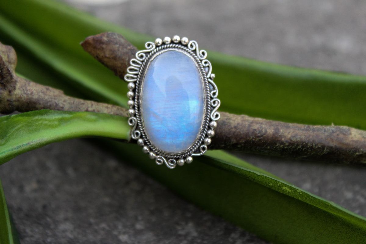 Moonstone Ring Sterling Silver Ring, Handmade Ring, Moonstone Jewelry, Boho Ring, Rainbow Moonstone Ring, Natural Moonstone Ring, Statement Ring