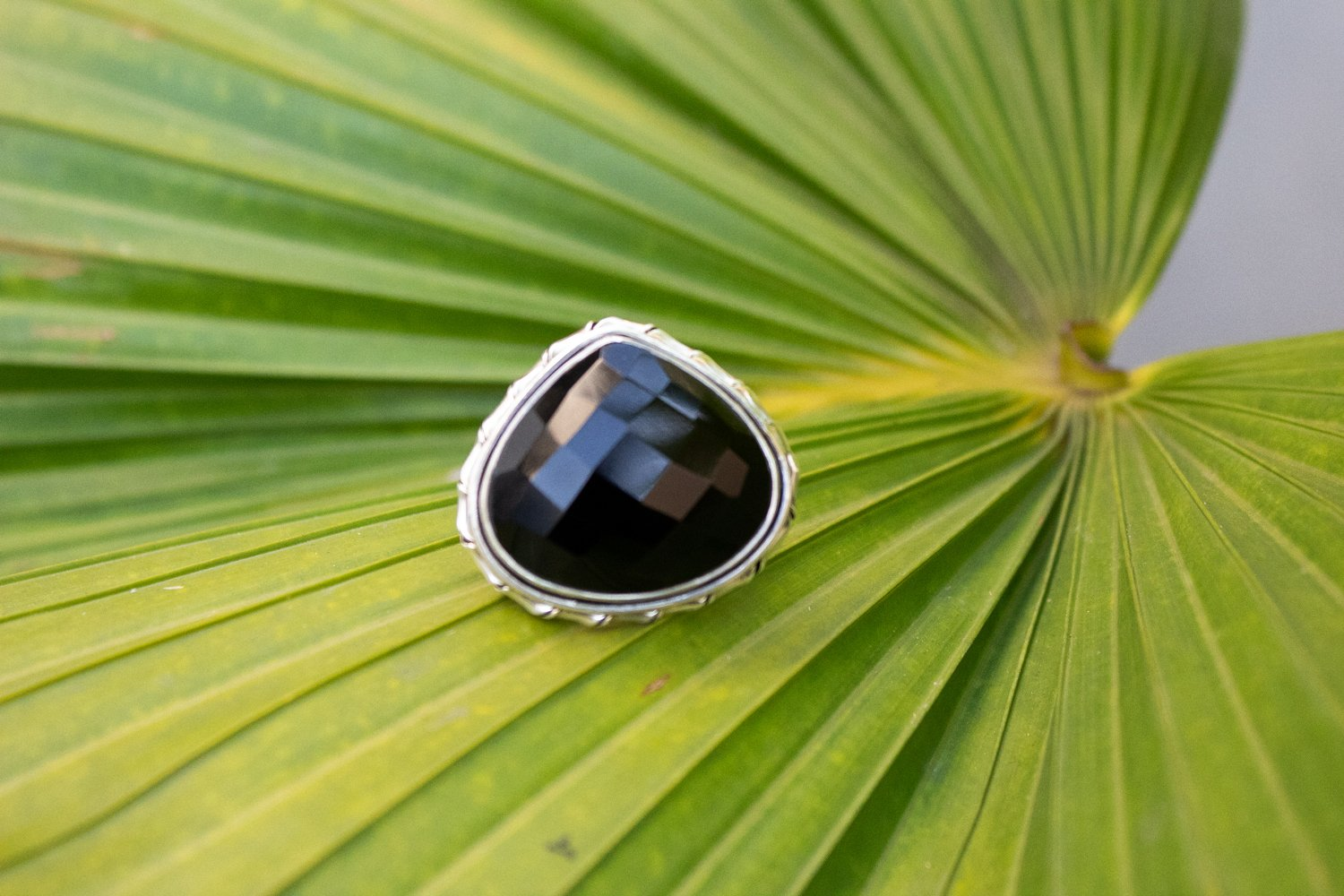 Pear Shape Black Onyx Ring 925 Sterling Silver, Cocktail Ring AR-1162
