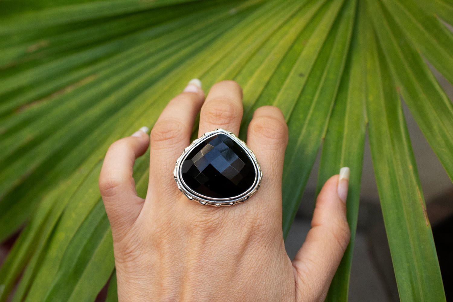Pear Shape Black Onyx Ring 925 Sterling Silver, Cocktail Ring