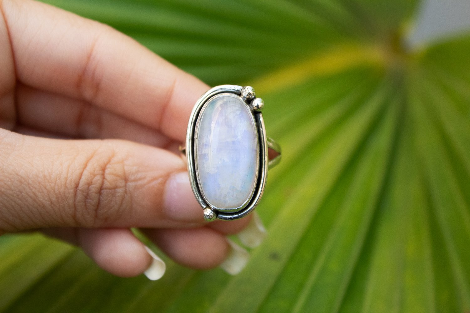 Handcrafted Natural Moonstone Ring, Promise Ring AR-1097