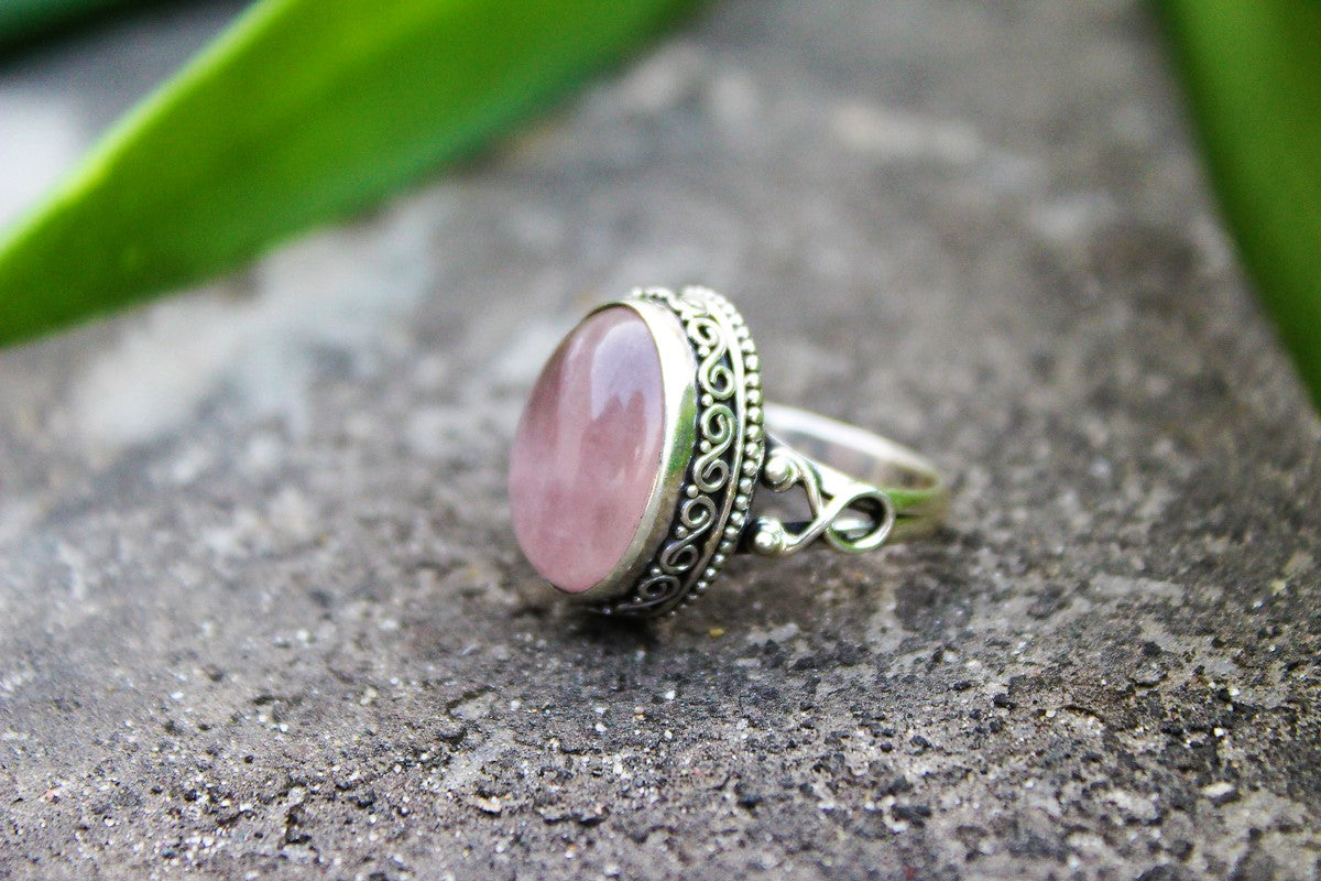 rings inlaid piece silver sterling three friendship ring stone meaningful pink