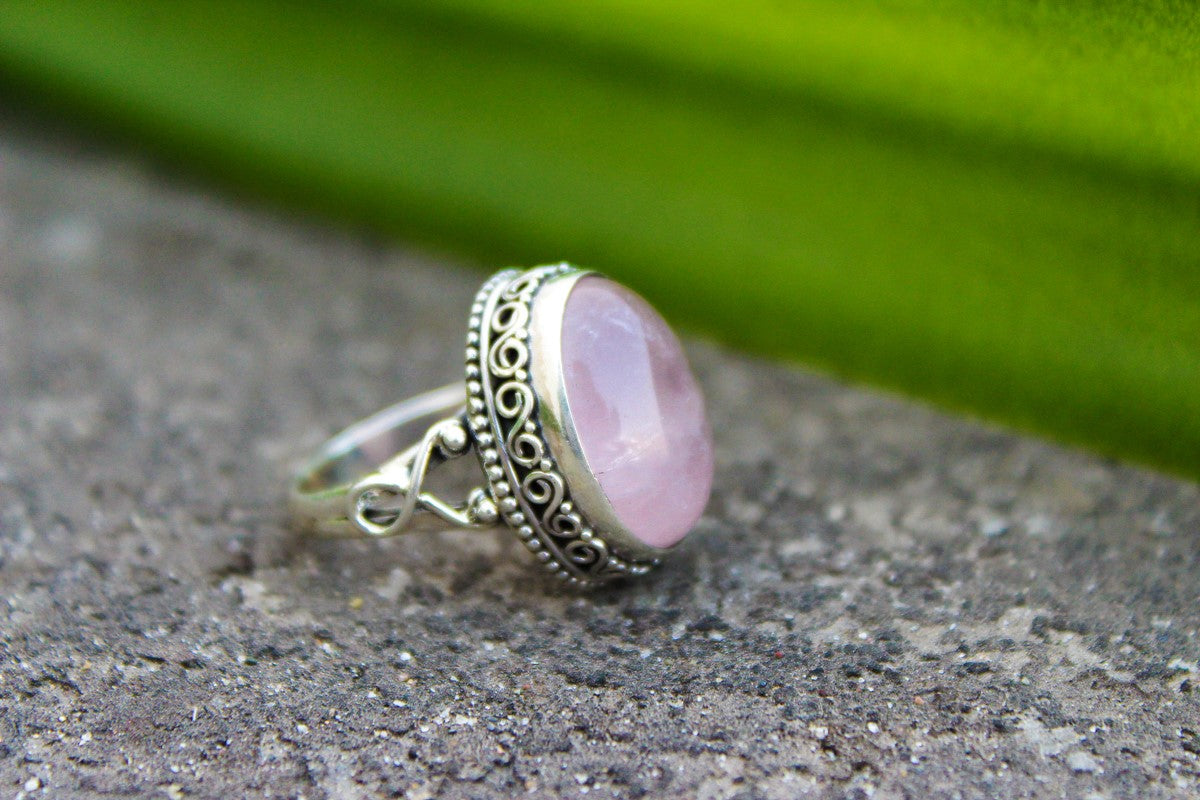Rose Quartz Ring, Sterling Silver Rose Quartz Gemstone Ring, Handmade Ring, Pale Pink Stone Ring, Boho, Rose Quartz Jewelry, Gemstone jewelry, Bohemian Ring AR-1251
