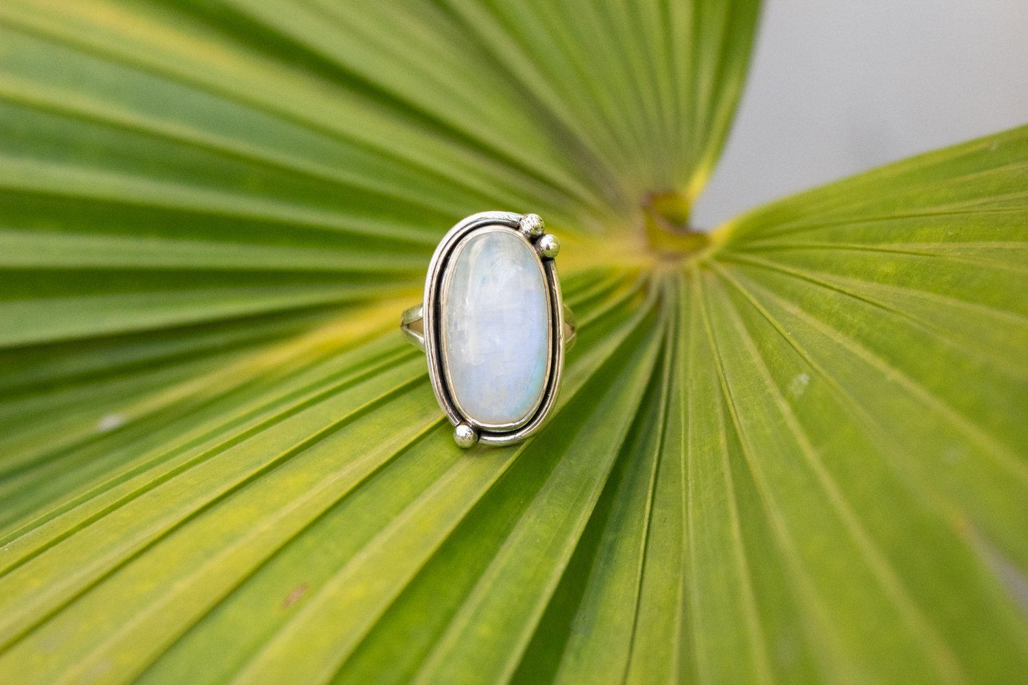 Handcrafted Natural Moonstone Ring, Promise Ring AR-1097 - Its Ambra