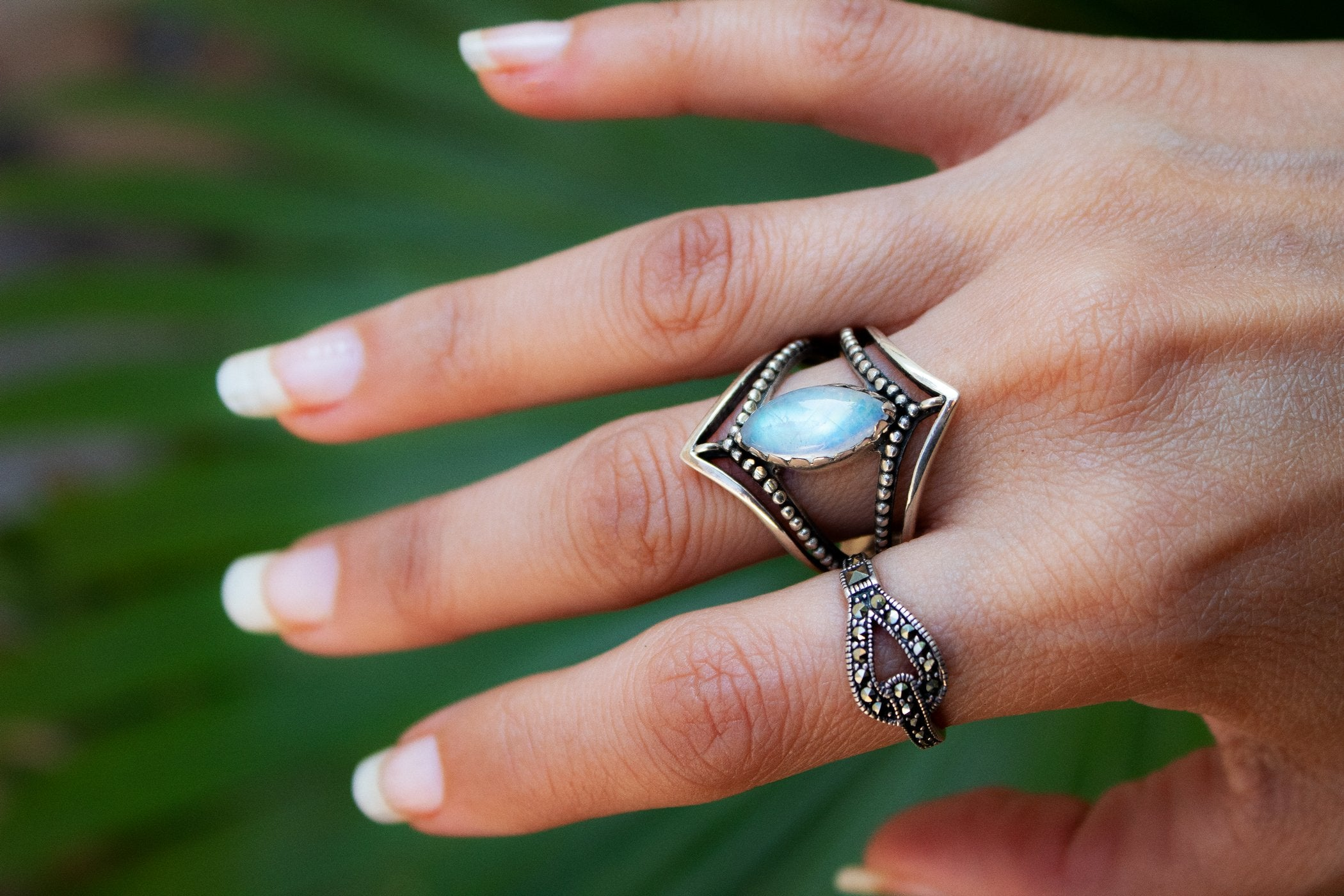 Dual Chevron Band Marquise Shaped Moonstone Ring AR-2041 - Its Ambra