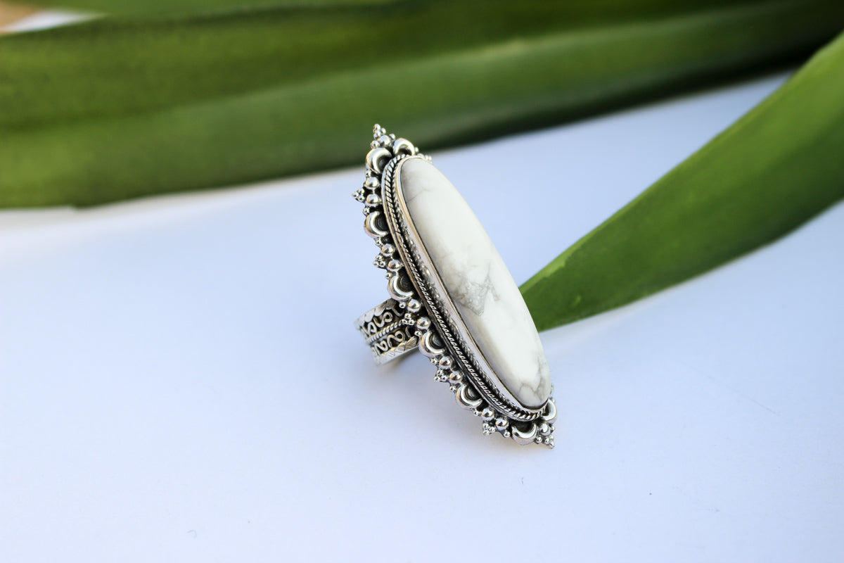 Howlite Ring, White Howlite Ring, Sterling Silver Ring, Statement Ring, Handmade Ring, Howlite Jewelry, Gypsy Ring, AR-1083