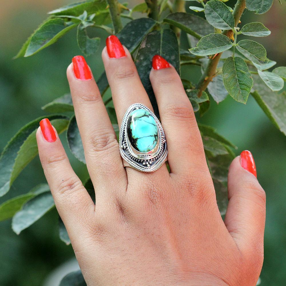 Natural Turquoise Ring, Turquoise Sterling Silver Ring, Patterned Band Ring, Boho, Handmade Ring, Turquoise Jewelry, December Birthstone Ring, Cocktail Ring AR-1084 - Its Ambra