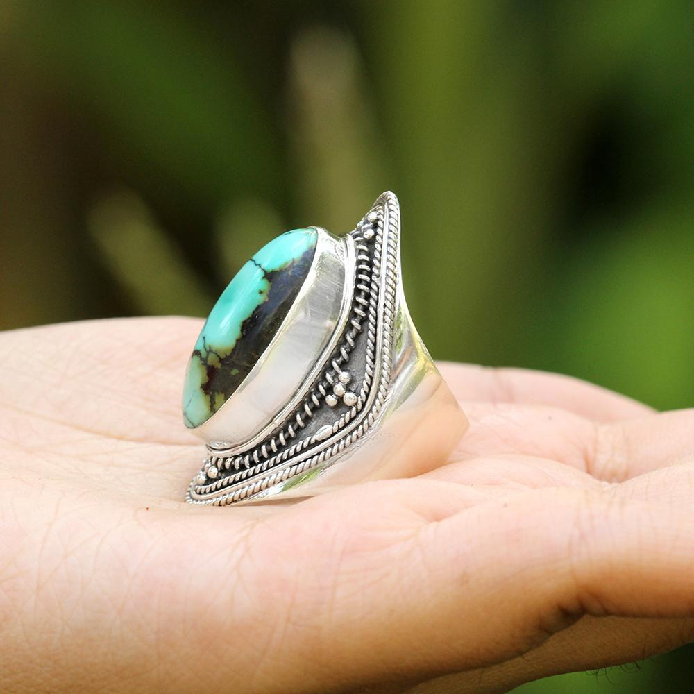 Natural Turquoise Ring, Turquoise Sterling Silver Ring, Patterned Band Ring, Boho, Handmade Ring, Turquoise Jewelry, December Birthstone Ring, Cocktail Ring