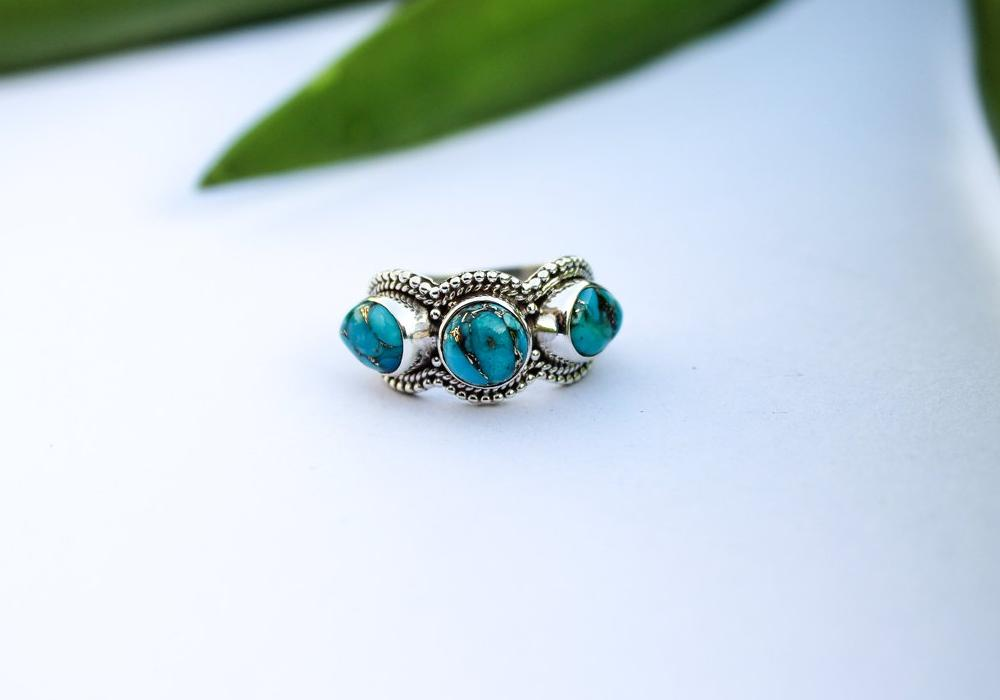Three Stone Blue Copper Turquoise Sterling Silver Band Ring, AR-1138