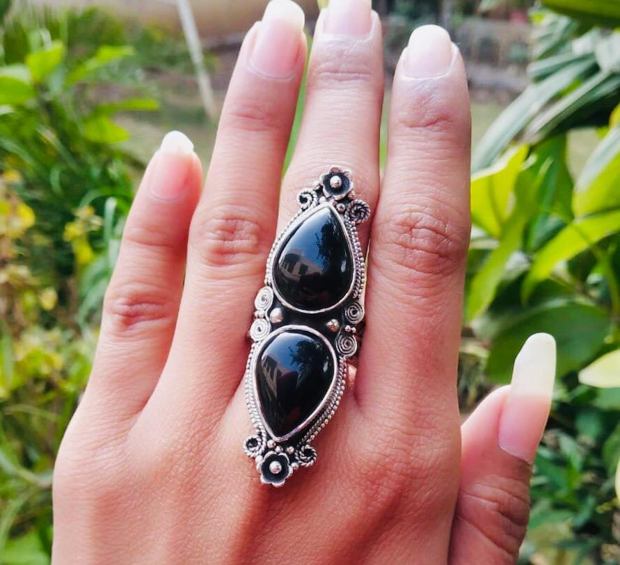 Handmade Sterling Silver Black Onyx Statement Ring AR-3009
