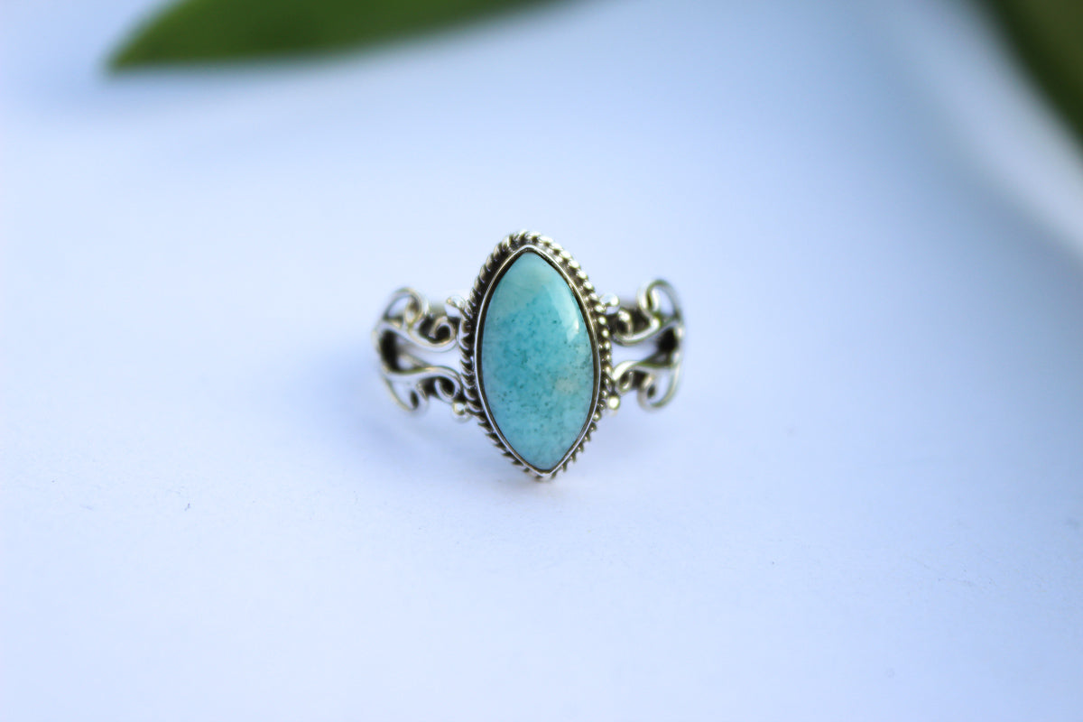 Marquise Shape Blue Larimar Sterling Silver Ring, Everyday wear Ring AR-1191