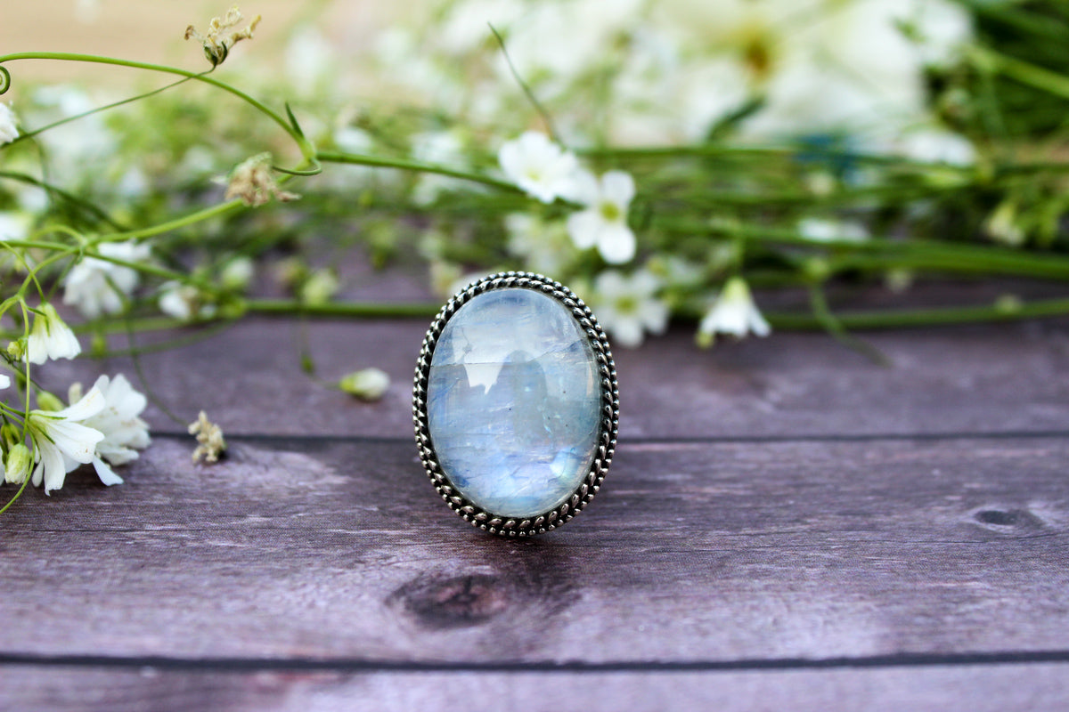 Oval Rainbow Moonstone Ring, Gift for Her, AR-2060