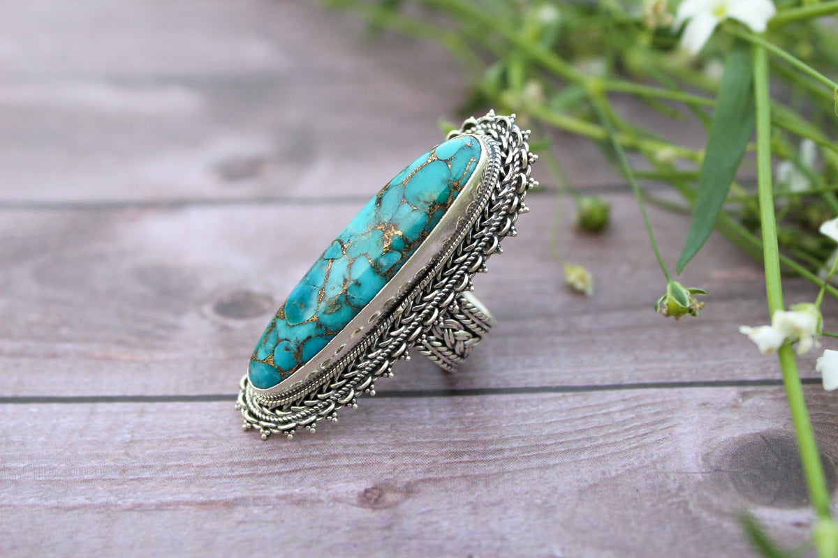 Long Oval Blue Copper Turquoise Sterling Silver Ring, Statement Ring, AR-1233