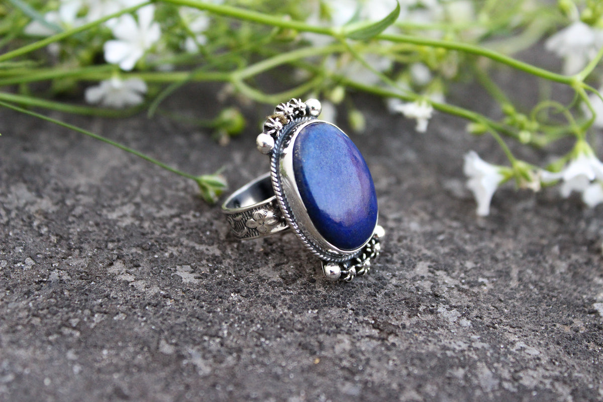 Oval Shape Lapis Ring, Blue Stone Ring, Boho Gypsy Ring AR-1076