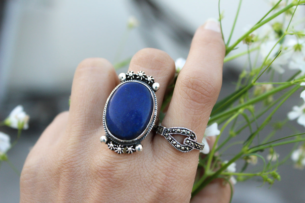 Lapis Lazuli Ring, Sterling Silver Ring, Handmade Ring, Oval Shape Lapis Ring, Blue Stone Ring, Boho Gypsy Ring