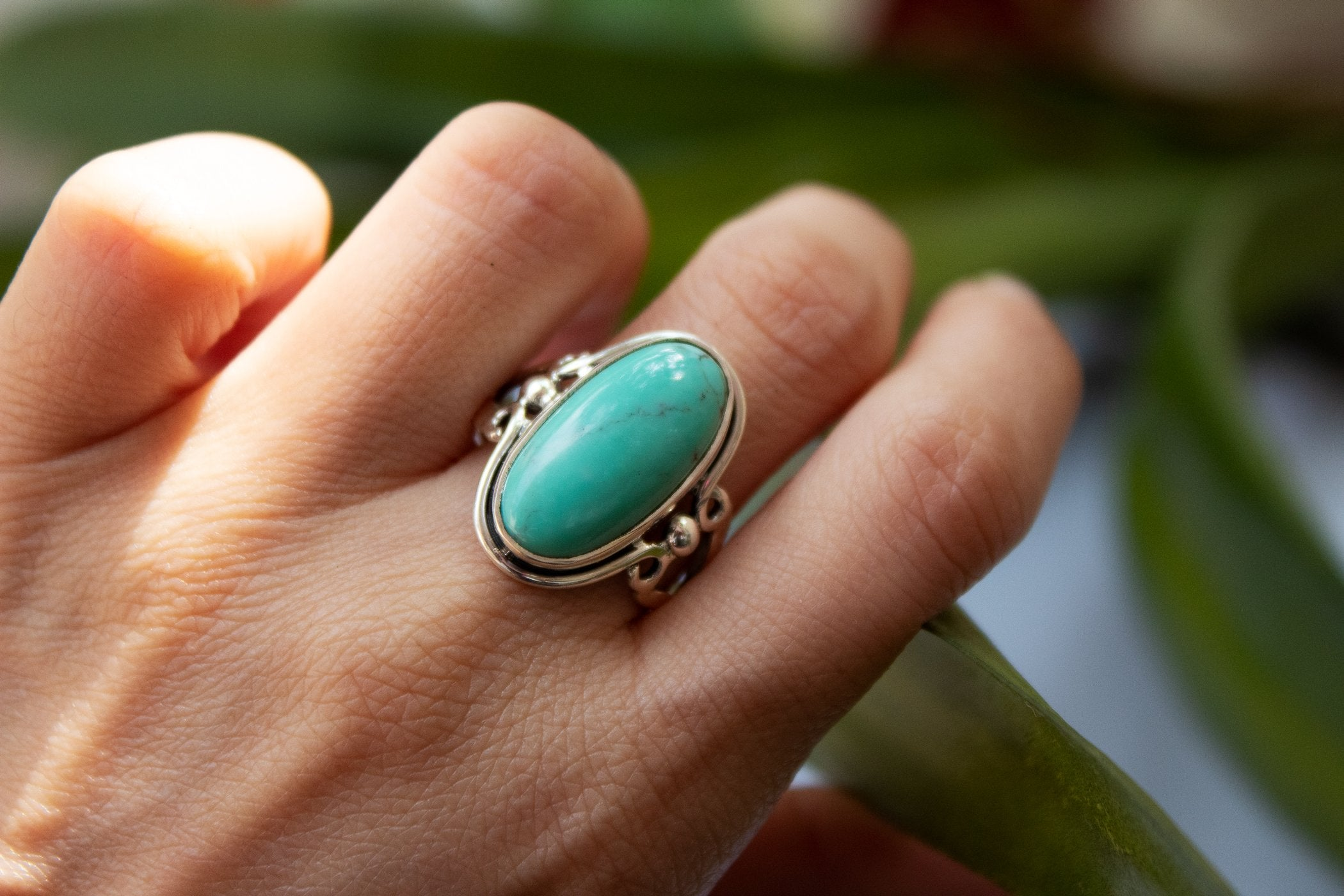 Oval Shape Arizona Turquoise Ring, December Birthstone Ring AR-2069 - Its Ambra