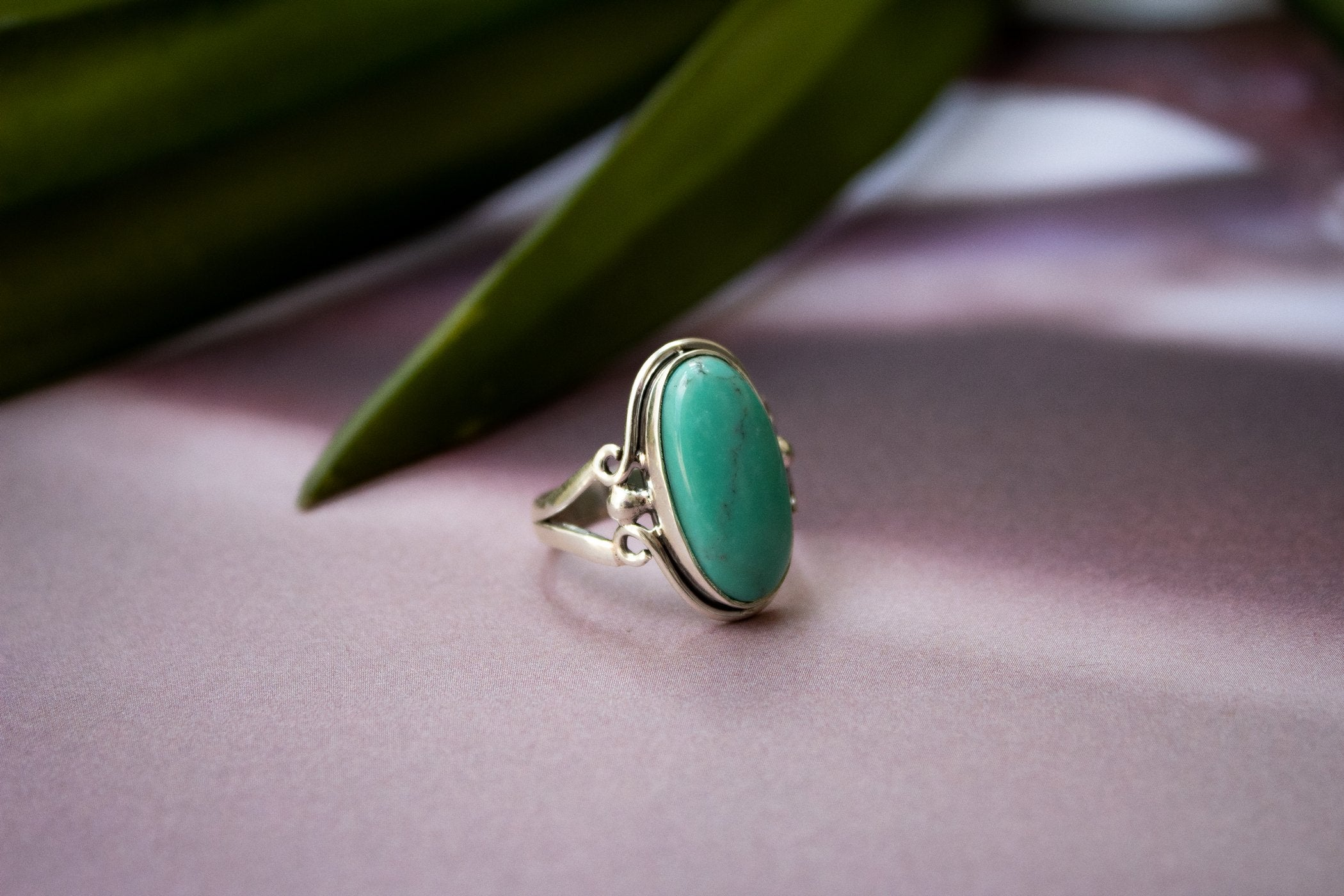 Oval Shape Arizona Turquoise Ring, December Birthstone Ring AR-2069