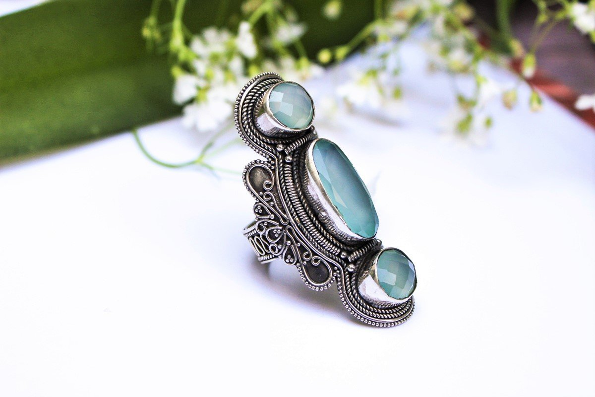 Aqua Chalcedony 925 Sterling Silver Ring, Statement Ring, Boho Ring, Gypsy Ring, AR-1008