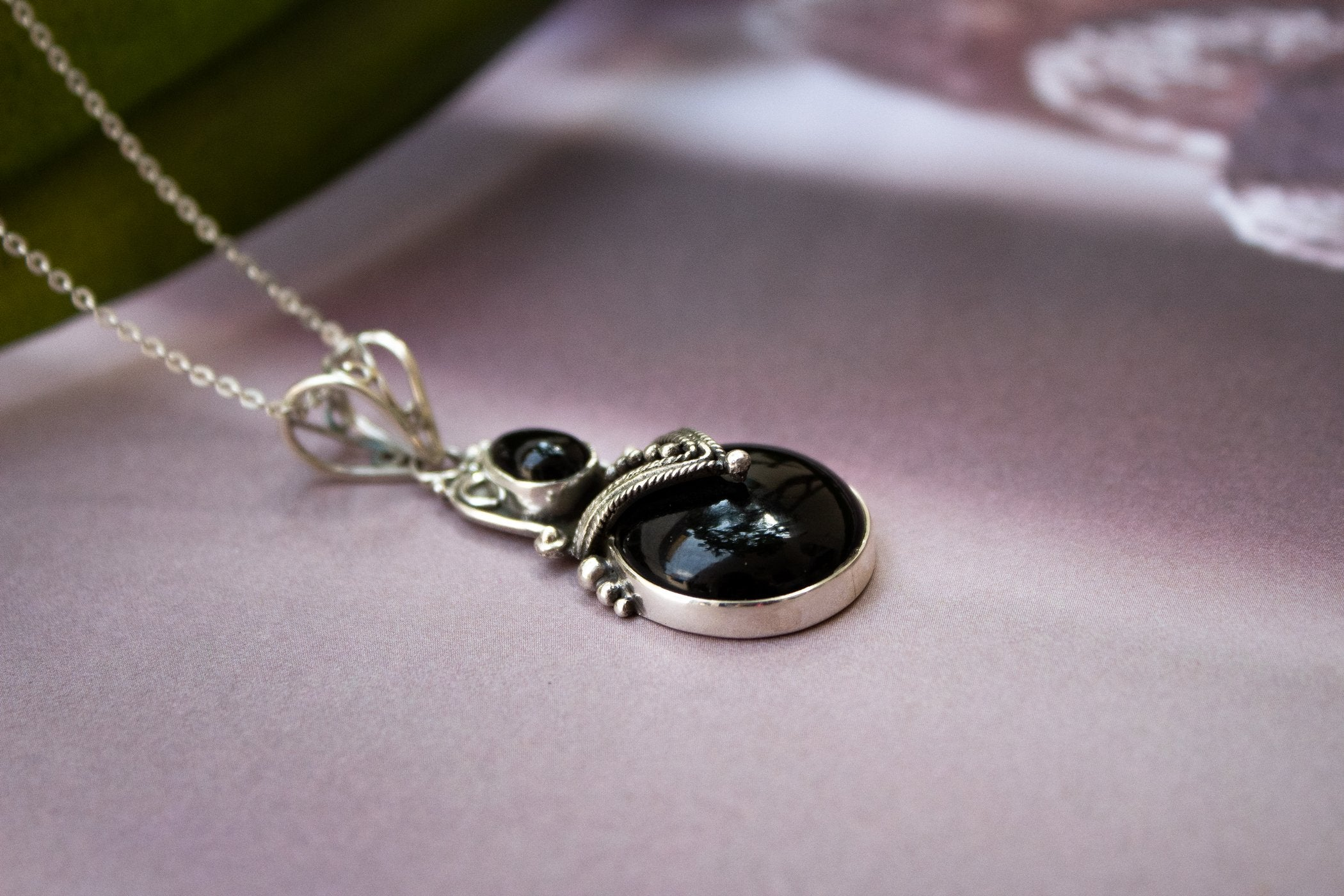 Natural Black Onyx Pendant with Sterling Silver