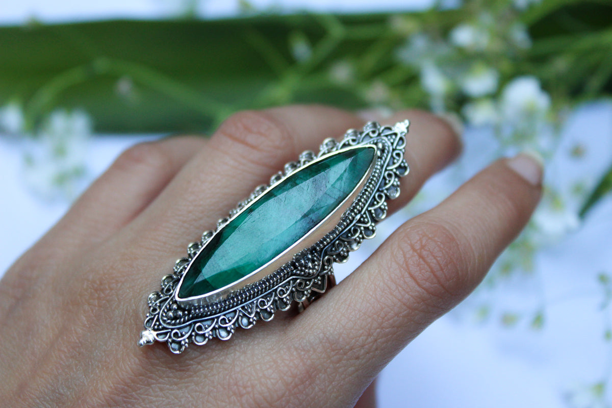 Marquise shape Emerald Gemstone Sterling Silver Ring, Artisan Ring, AR-1135