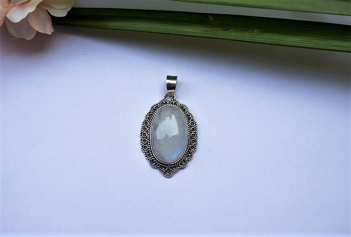 Oval Shaped Moonstone Anniversary Pendant Necklace AP-1101