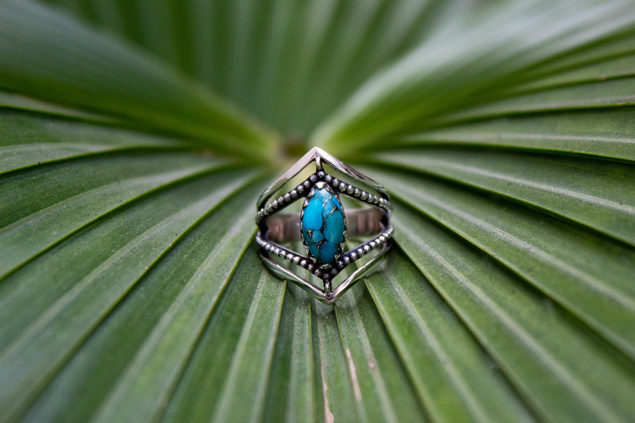 Marquise Shape Blue Copper Turquoise Stone Chevron Band Sterling Silver Ring, AR-2070
