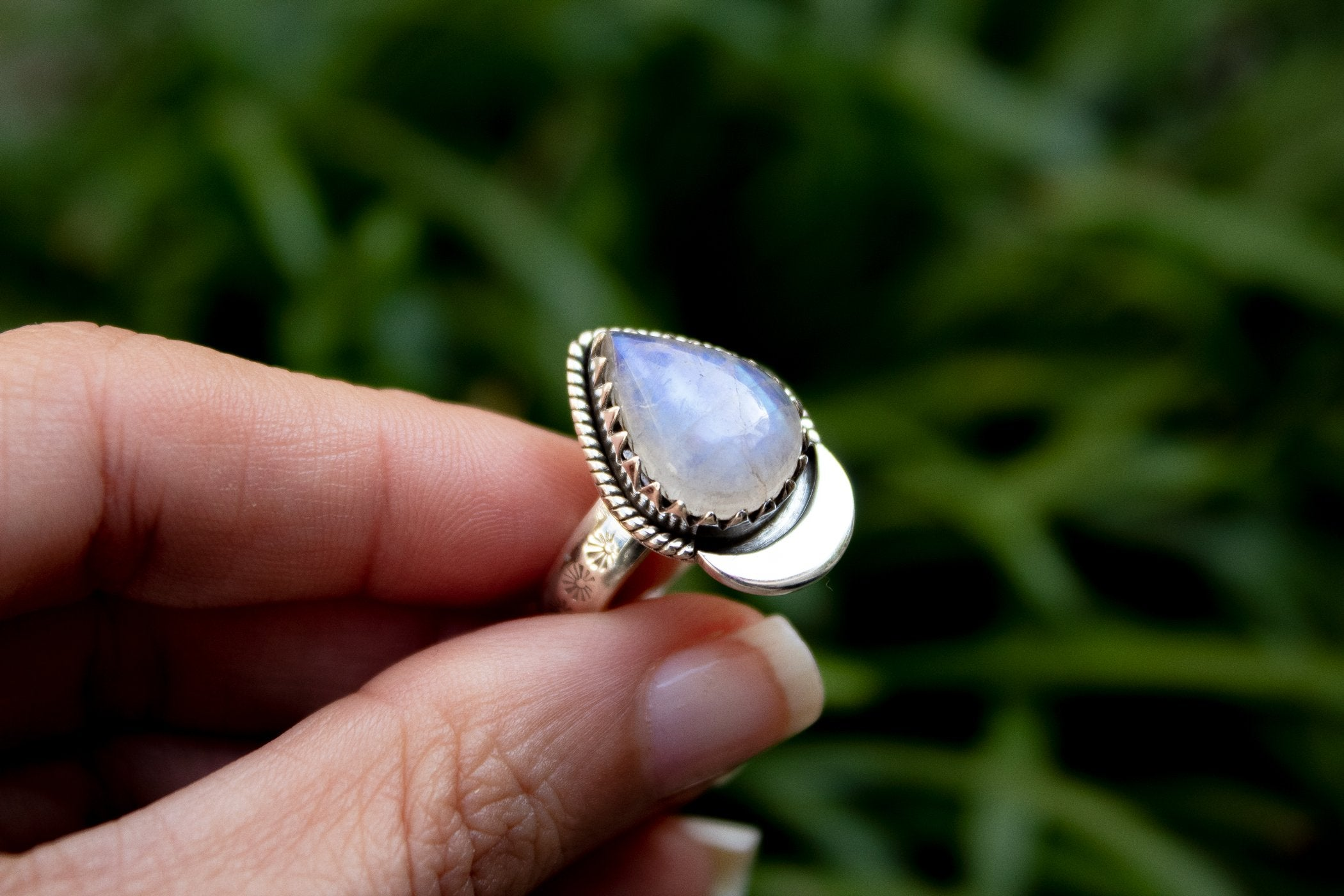 Crescent Moon Moonstone Ring, AR-2072