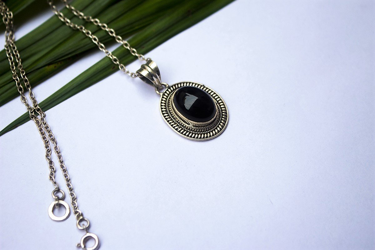 925 Sterling Silver Black Onyx Pendant Necklace AP-1029