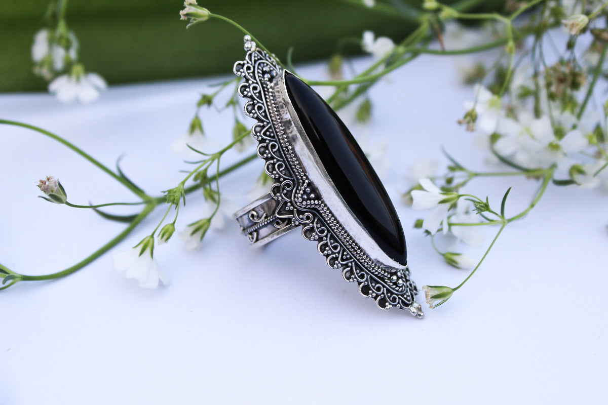 Marquise Shape Long Black Onyx Statement Ring, AR-1018