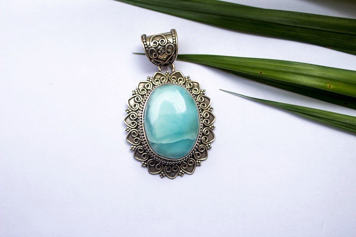 Larimar Pendant Statement Necklace Sterling Silver Jewelry, Blue Stone Pendant, Statement Pendant, Larimar Jewelry AP-1176