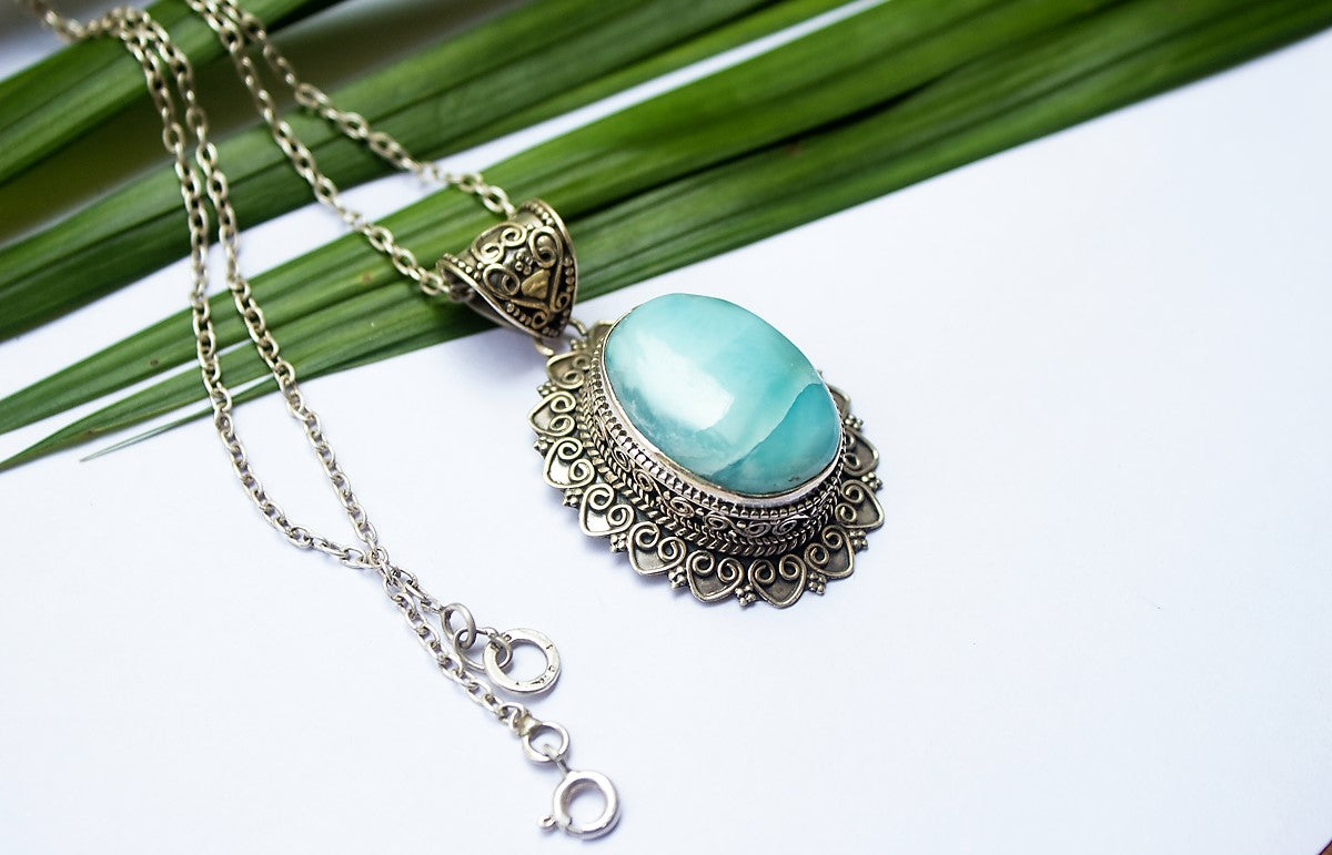 Oval Blue Larimar Statement Pendant Necklace AP-1176