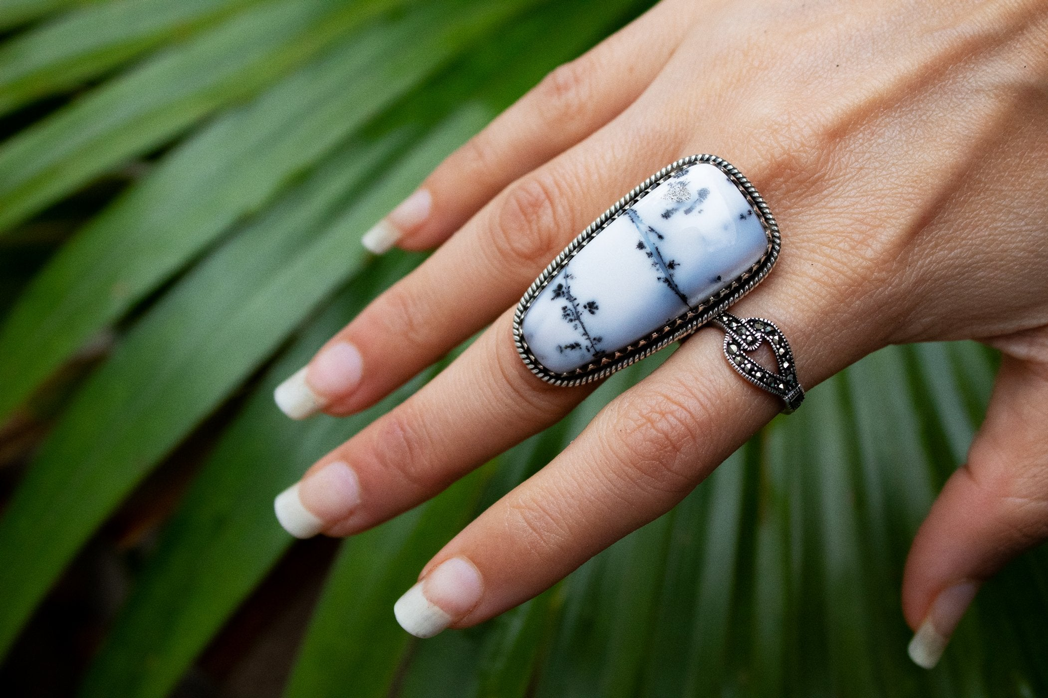 Statement Dendritic Opal Ring Size 8, AR-2075
